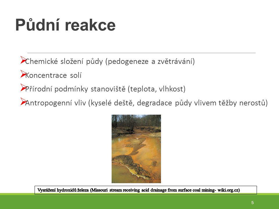 Půdní reakce  Chemické složení půdy (pedogeneze a zvětrávání)  Koncentrace solí  Přírodní podmínky stanoviště (teplota, vlhkost)  Antropogenní vliv (kyselé deště, degradace půdy vlivem těžby nerostů) 5