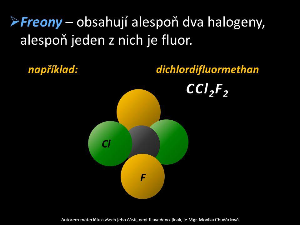  Freony – obsahují alespoň dva halogeny, alespoň jeden z nich je fluor. Autorem materiálu a všech jeho částí, není-li uvedeno jinak, je Mgr. Monika C