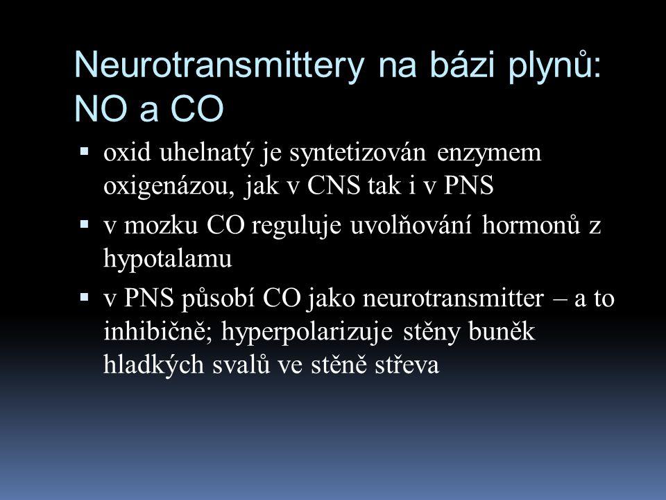 Neurotransmittery na bázi plynů: NO a CO  oxid uhelnatý je syntetizován enzymem oxigenázou, jak v CNS tak i v PNS  v mozku CO reguluje uvolňování ho