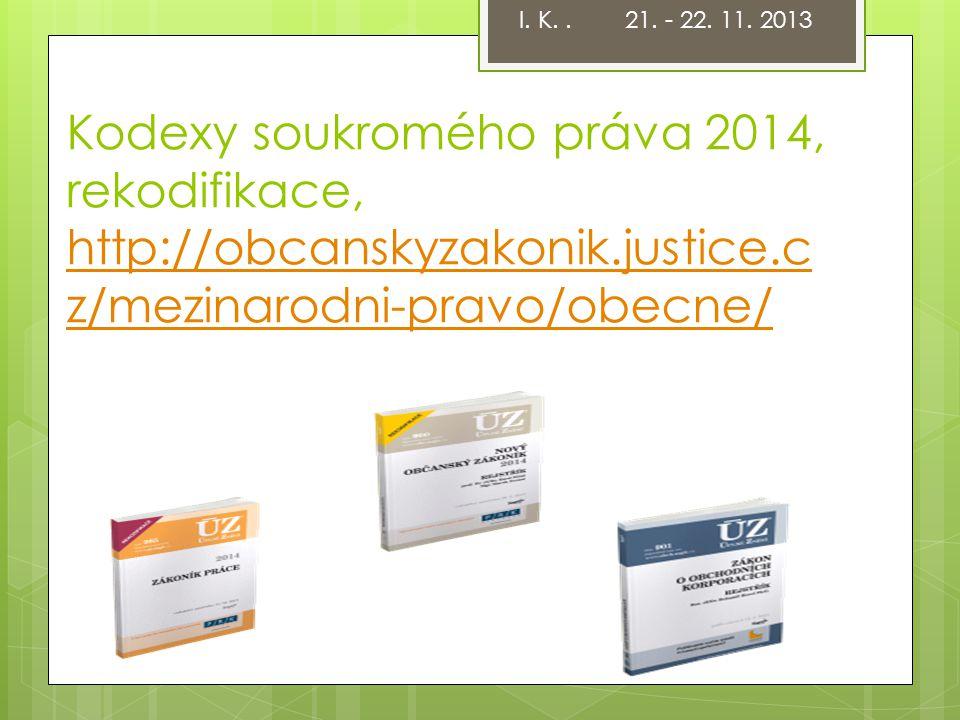 Kodexy soukromého práva 2014, rekodifikace, http://obcanskyzakonik.justice.c z/mezinarodni-pravo/obecne/ http://obcanskyzakonik.justice.c z/mezinarodn
