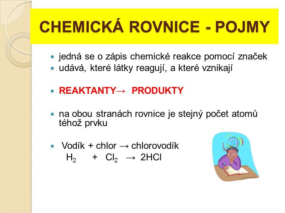 CHEMICKÁ ROVNICE - POJMY jedná se o zápis chemické reakce pomocí značek udává, které látky reagují, a které vznikají REAKTANTY→ PRODUKTY na obou stran