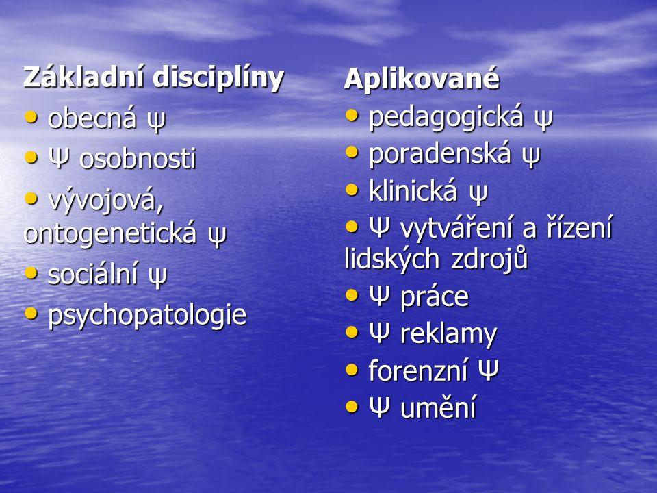 Základní disciplíny obecná ψ obecná ψ Ψ osobnosti Ψ osobnosti vývojová, ontogenetická ψ vývojová, ontogenetická ψ sociální ψ sociální ψ psychopatologi