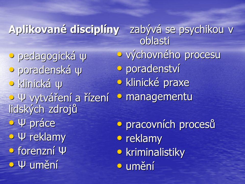 Aplikované disciplíny pedagogická ψ pedagogická ψ poradenská ψ poradenská ψ klinická ψ klinická ψ Ψ vytváření a řízení lidských zdrojů Ψ vytváření a ř