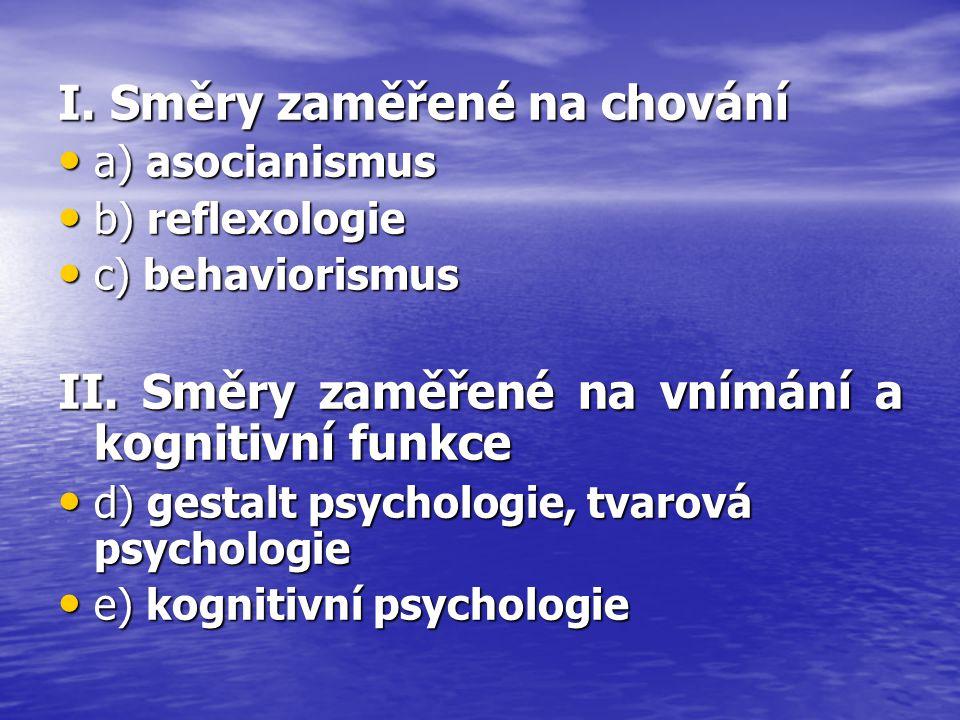 I. Směry zaměřené na chování a) asocianismus a) asocianismus b) reflexologie b) reflexologie c) behaviorismus c) behaviorismus II. Směry zaměřené na v