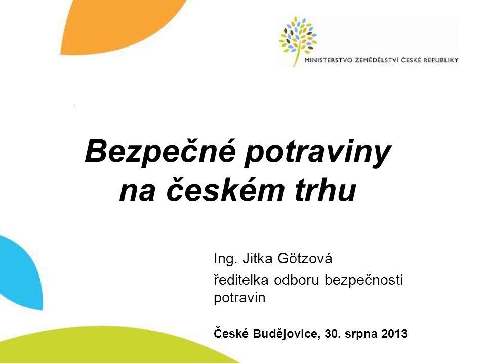 Bezpečné potraviny na českém trhu Ing. Jitka Götzová ředitelka odboru bezpečnosti potravin České Budějovice, 30. srpna 2013