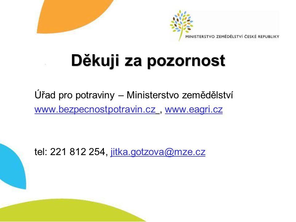 Děkuji za pozornost Úřad pro potraviny – Ministerstvo zemědělství www.bezpecnostpotravin.cz, www.eagri.cz tel: 221 812 254, jitka.gotzova@mze.cz