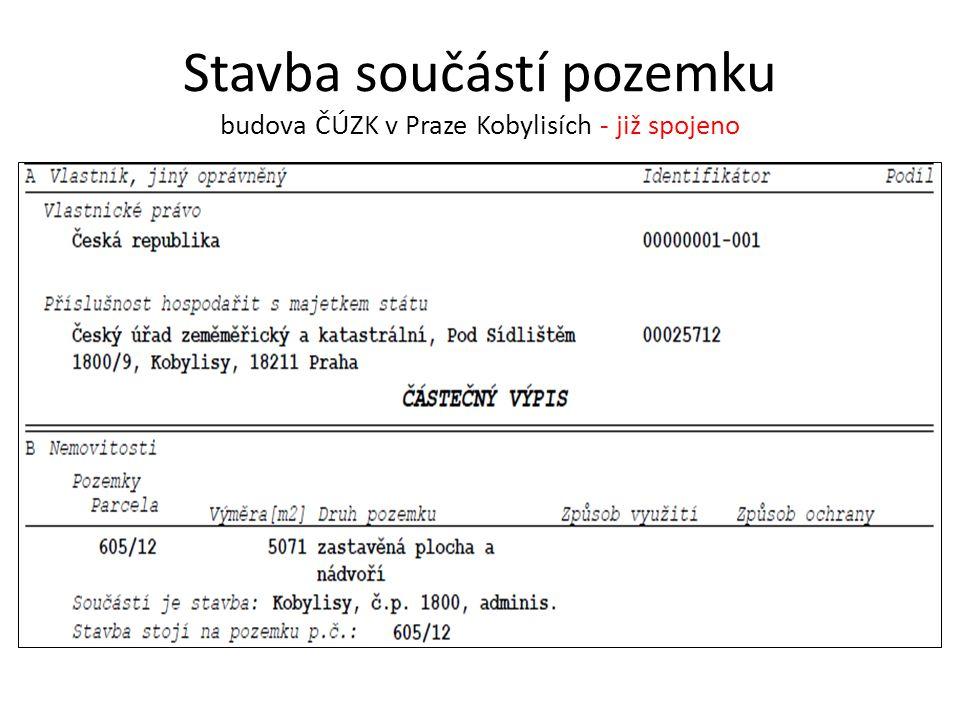 Stavba součástí pozemku budova ČÚZK v Praze Kobylisích - již spojeno