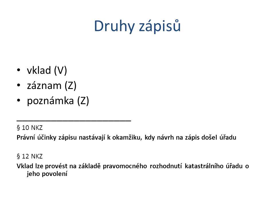 Druhy zápisů vklad (V) záznam (Z) poznámka (Z) ____________________ § 10 NKZ Právní účinky zápisu nastávají k okamžiku, kdy návrh na zápis došel úřadu