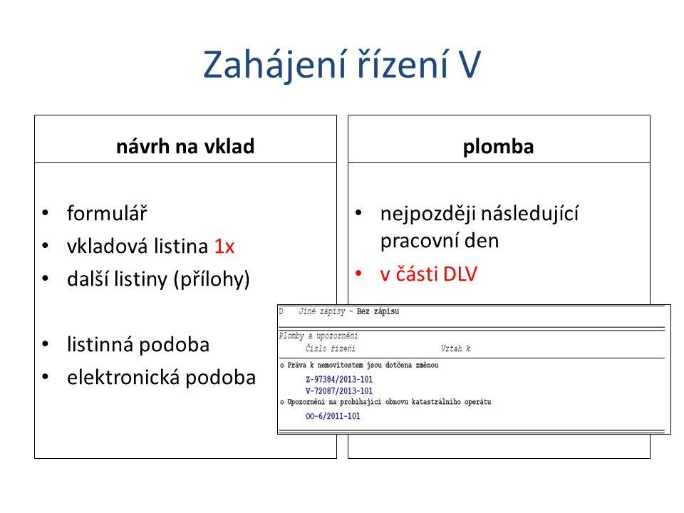 Zahájení řízení V návrh na vklad formulář vkladová listina 1x další listiny (přílohy) listinná podoba elektronická podoba plomba nejpozději následujíc
