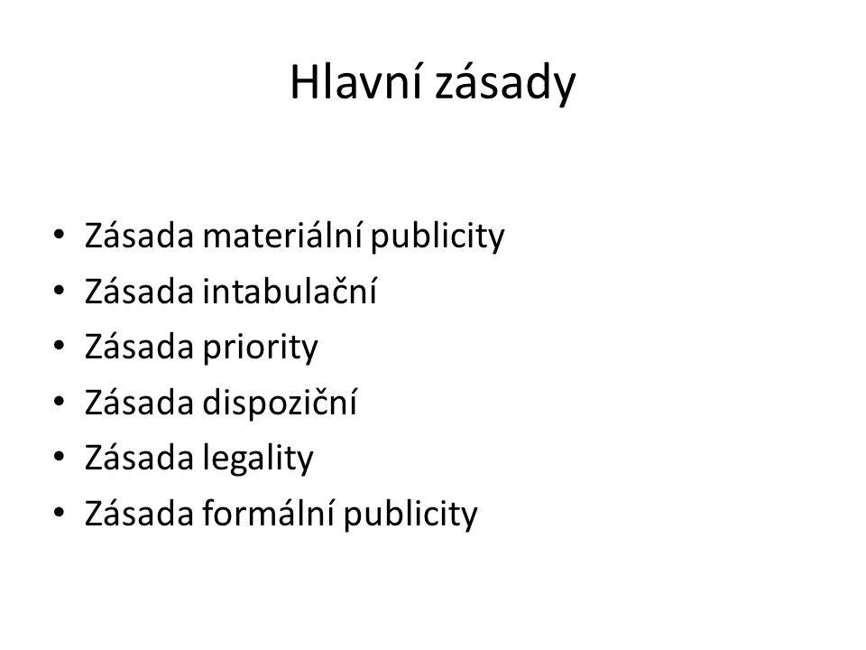 Hlavní zásady Zásada materiální publicity Zásada intabulační Zásada priority Zásada dispoziční Zásada legality Zásada formální publicity