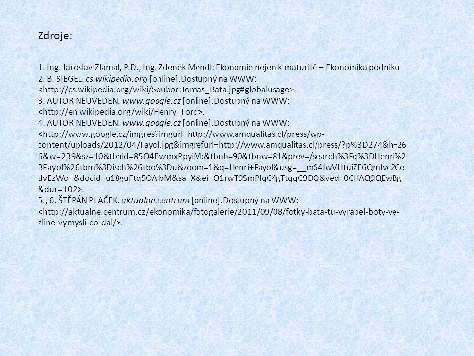 Zdroje: 1. Ing. Jaroslav Zlámal, P.D., Ing. Zdeněk Mendl: Ekonomie nejen k maturitě – Ekonomika podniku 2. B. SIEGEL. cs.wikipedia.org [online].Dostup