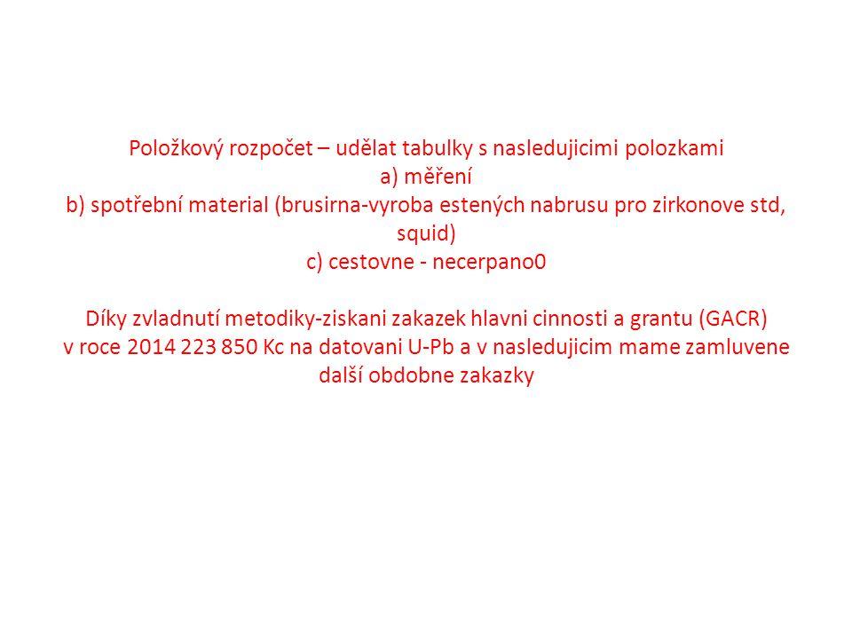 Položkový rozpočet – udělat tabulky s nasledujicimi polozkami a) měření b) spotřební material (brusirna-vyroba estených nabrusu pro zirkonove std, squid) c) cestovne - necerpano0 Díky zvladnutí metodiky-ziskani zakazek hlavni cinnosti a grantu (GACR) v roce 2014 223 850 Kc na datovani U-Pb a v nasledujicim mame zamluvene další obdobne zakazky
