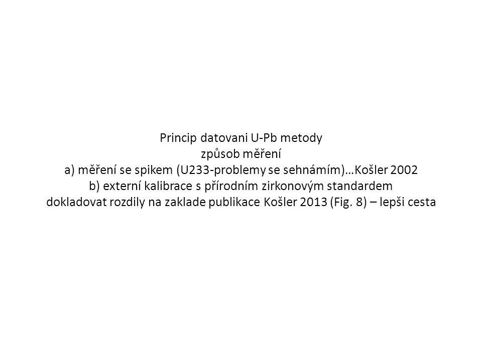 Princip datovani U-Pb metody způsob měření a) měření se spikem (U233-problemy se sehnámím)…Košler 2002 b) externí kalibrace s přírodním zirkonovým standardem dokladovat rozdily na zaklade publikace Košler 2013 (Fig.