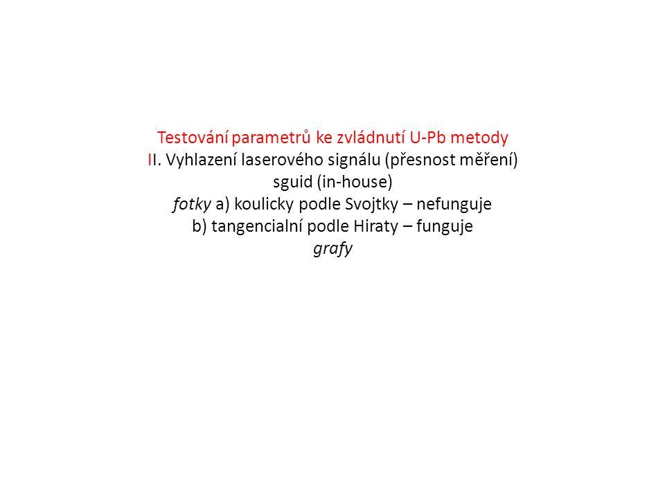 Testování parametrů ke zvládnutí U-Pb metody II.