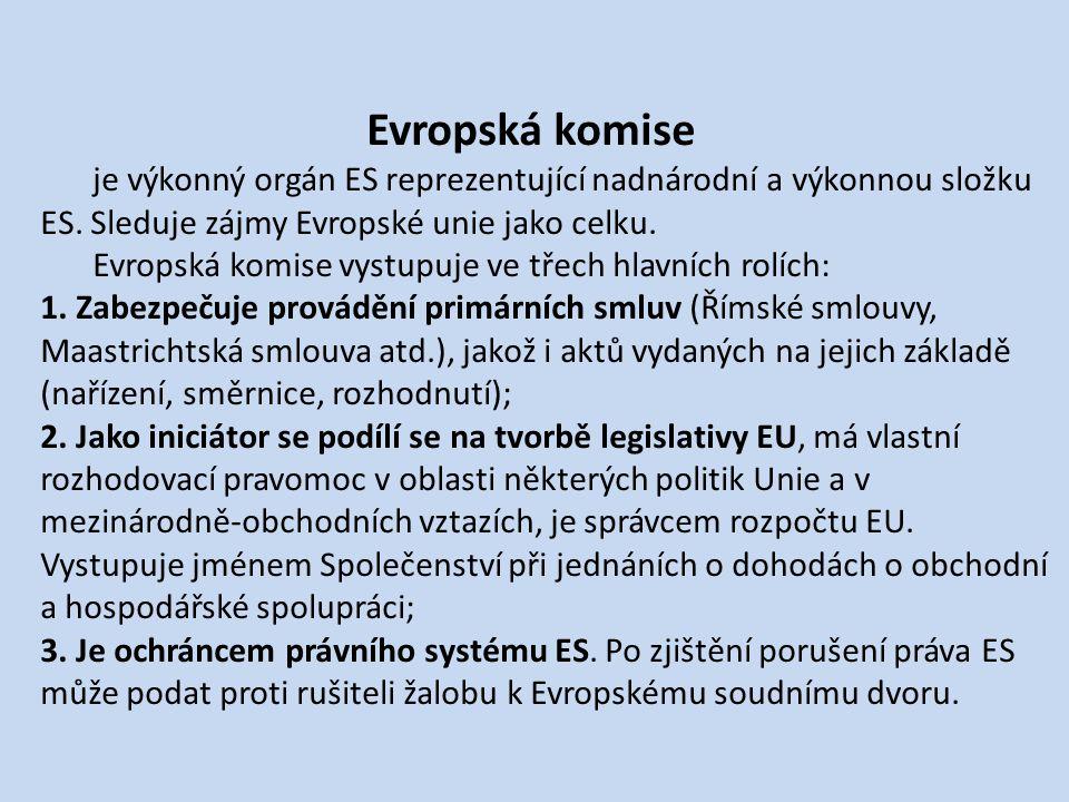 Evropská komise je výkonný orgán ES reprezentující nadnárodní a výkonnou složku ES.