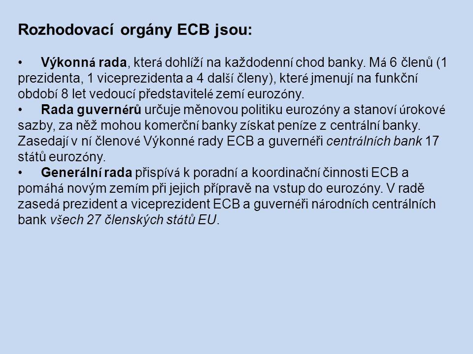 Rozhodovací orgány ECB jsou: Výkonn á rada, kter á dohl í ž í na každodenn í chod banky.