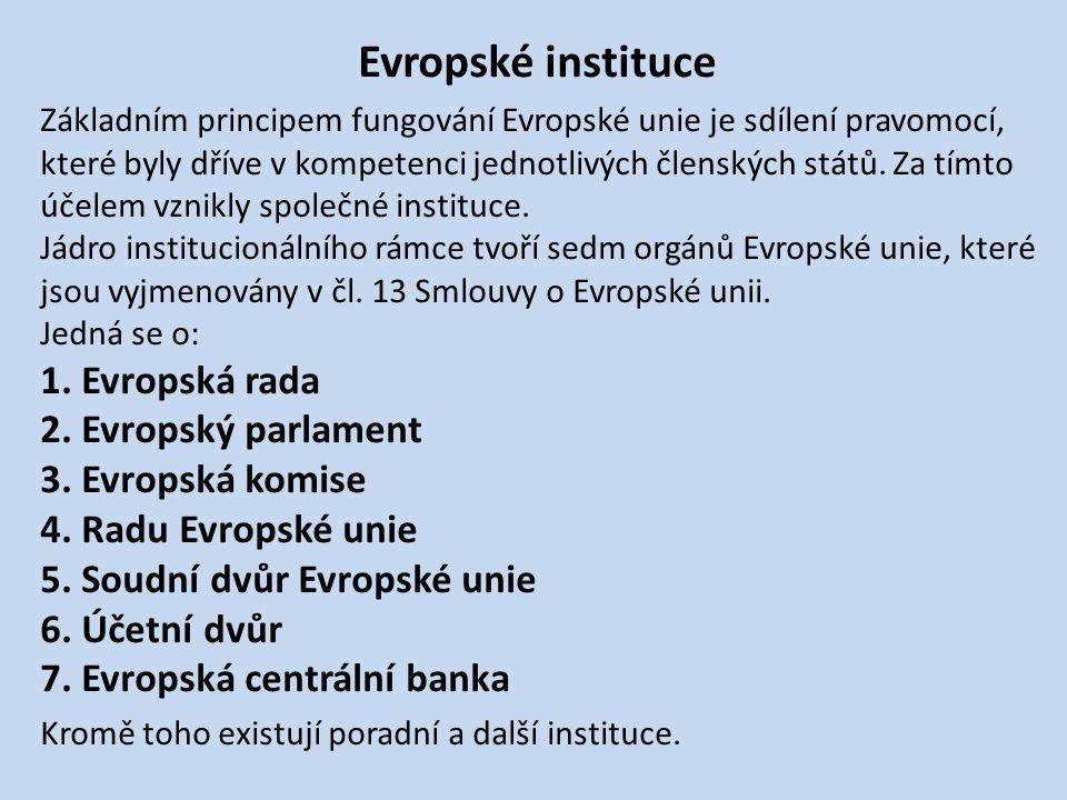 Evropské instituce Základním principem fungování Evropské unie je sdílení pravomocí, které byly dříve v kompetenci jednotlivých členských států.