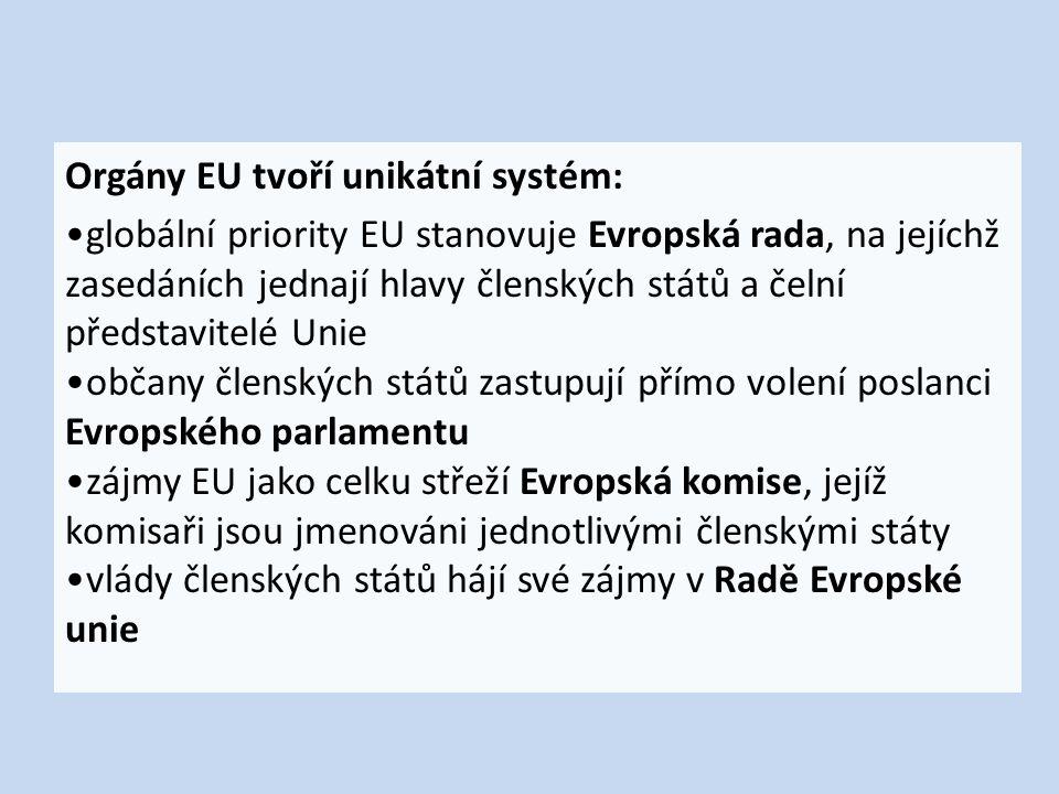 Orgány EU tvoří unikátní systém: globální priority EU stanovuje Evropská rada, na jejíchž zasedáních jednají hlavy členských států a čelní představitelé Unie občany členských států zastupují přímo volení poslanci Evropského parlamentu zájmy EU jako celku střeží Evropská komise, jejíž komisaři jsou jmenováni jednotlivými členskými státy vlády členských států hájí své zájmy v Radě Evropské unie