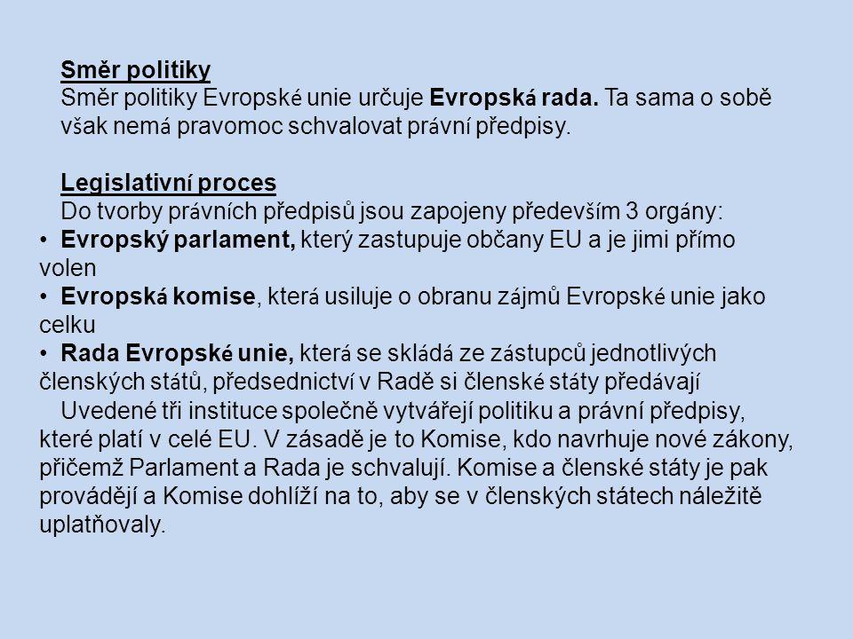 Směr politiky Směr politiky Evropsk é unie určuje Evropsk á rada.