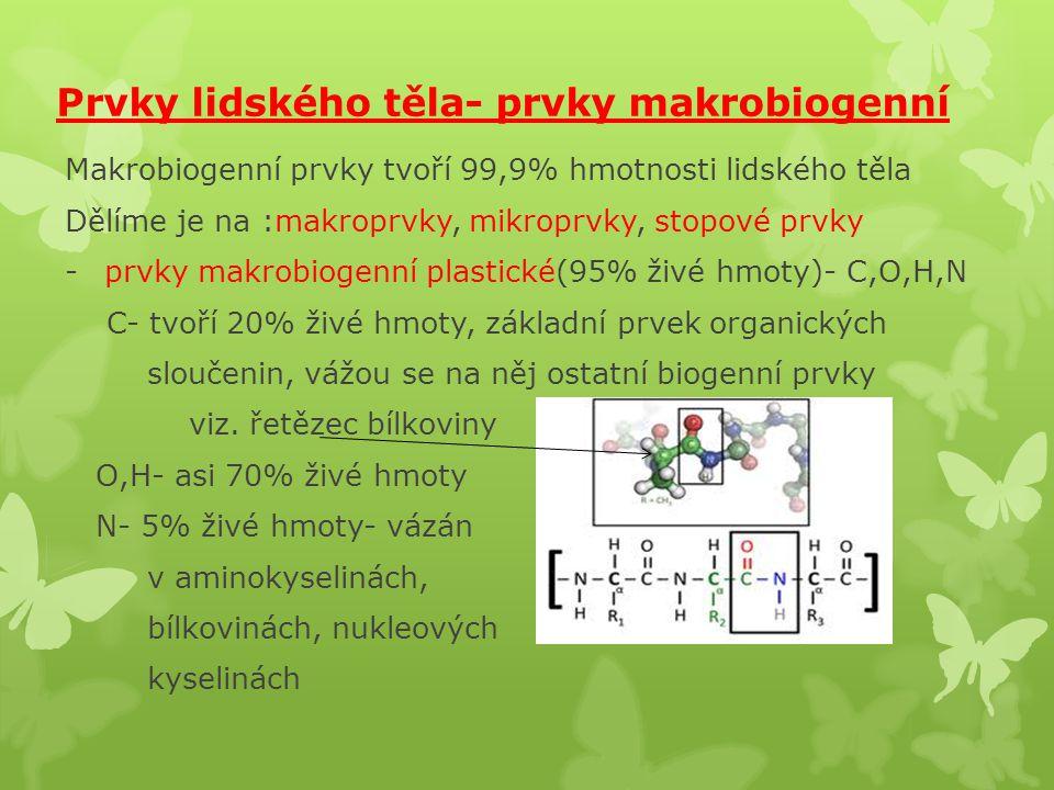 Prvky lidského těla- prvky makrobiogenní Kromě prvků makrobiogenních plastických (C,O,H,N) máme i ostatní prvky makrobiogenní- tzv.