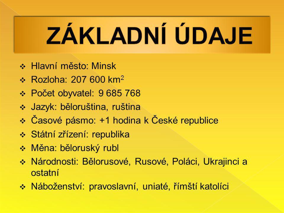  Hlavní město: Minsk  Rozloha: 207 600 km 2  Počet obyvatel: 9 685 768  Jazyk: běloruština, ruština  Časové pásmo: +1 hodina k České republice 