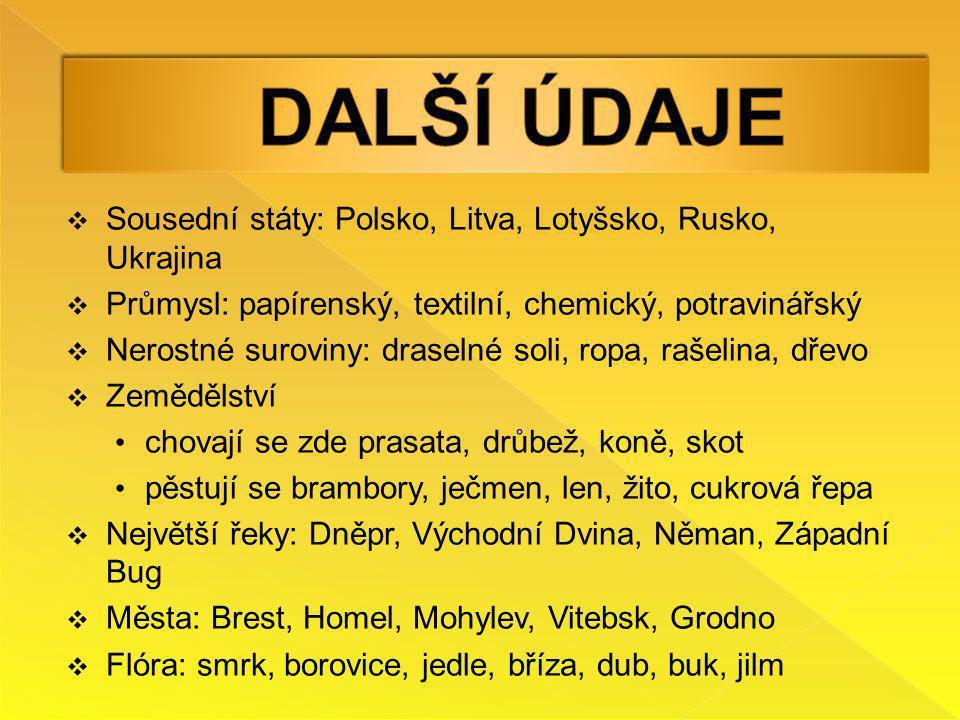  Sousední státy: Polsko, Litva, Lotyšsko, Rusko, Ukrajina  Průmysl: papírenský, textilní, chemický, potravinářský  Nerostné suroviny: draselné soli