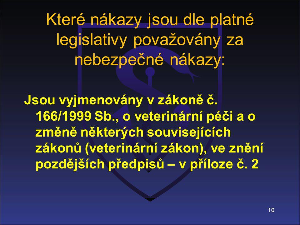 Které nákazy jsou dle platné legislativy považovány za nebezpečné nákazy: Jsou vyjmenovány v zákoně č.