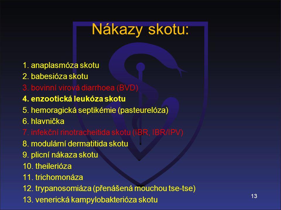 Nákazy skotu: 1.anaplasmóza skotu 2. babesióza skotu 3.