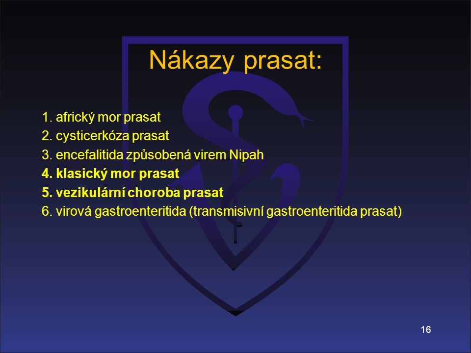 Nákazy prasat: 1.africký mor prasat 2. cysticerkóza prasat 3.