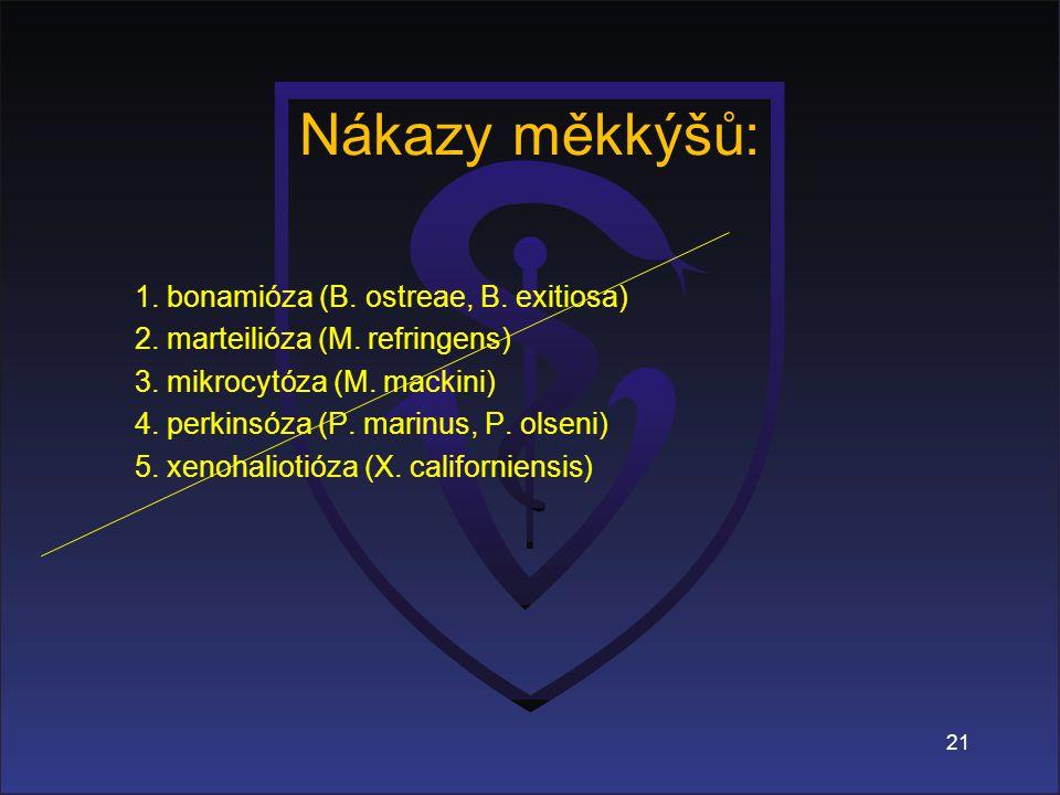 Nákazy měkkýšů: 1.bonamióza (B. ostreae, B. exitiosa) 2.