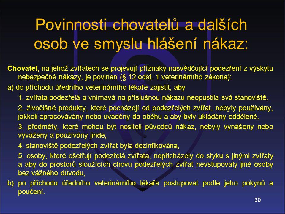 Chovatel, na jehož zvířatech se projevují příznaky nasvědčující podezření z výskytu nebezpečné nákazy, je povinen (§ 12 odst.