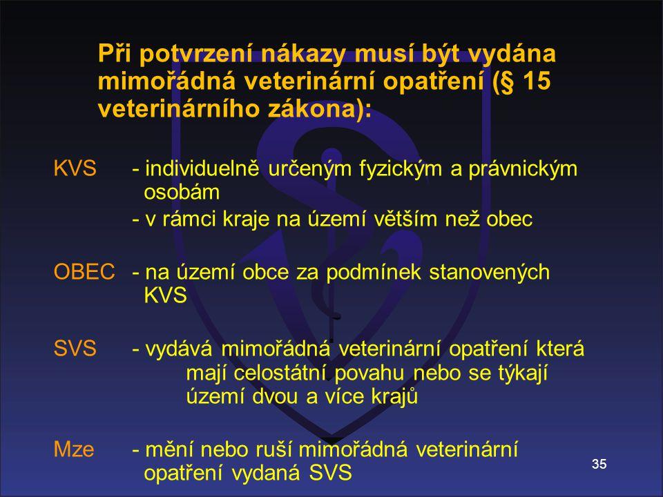 35 Při potvrzení nákazy musí být vydána mimořádná veterinární opatření (§ 15 veterinárního zákona): KVS - individuelně určeným fyzickým a právnickým osobám - v rámci kraje na území větším než obec OBEC - na území obce za podmínek stanovených KVS SVS - vydává mimořádná veterinární opatření která mají celostátní povahu nebo se týkají území dvou a více krajů Mze - mění nebo ruší mimořádná veterinární opatření vydaná SVS -