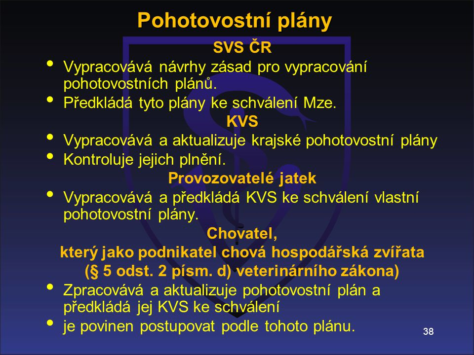 38 SVS ČR Vypracovává návrhy zásad pro vypracování pohotovostních plánů.