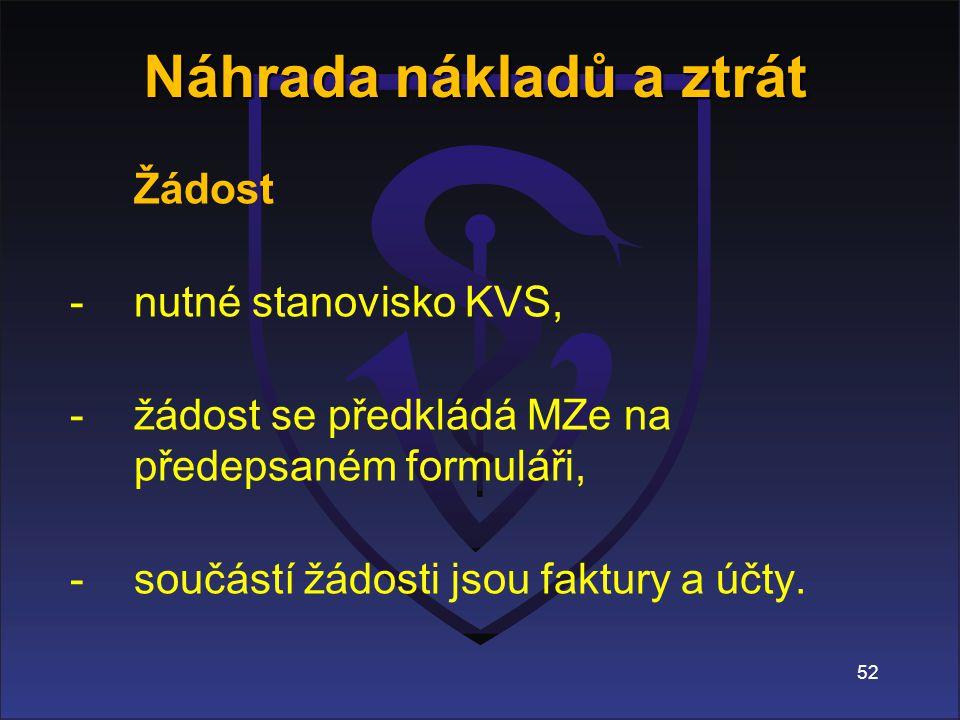 Žádost -nutné stanovisko KVS, -žádost se předkládá MZe na předepsaném formuláři, -součástí žádosti jsou faktury a účty.