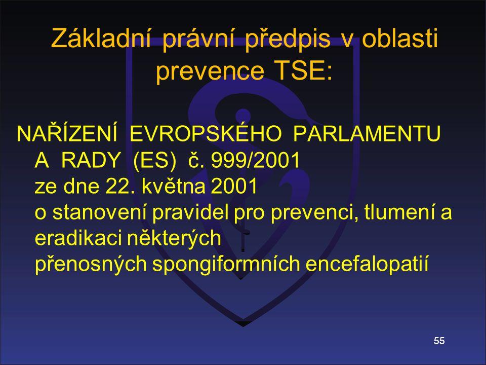 Základní právní předpis v oblasti prevence TSE: NAŘÍZENÍ EVROPSKÉHO PARLAMENTU A RADY (ES) č.