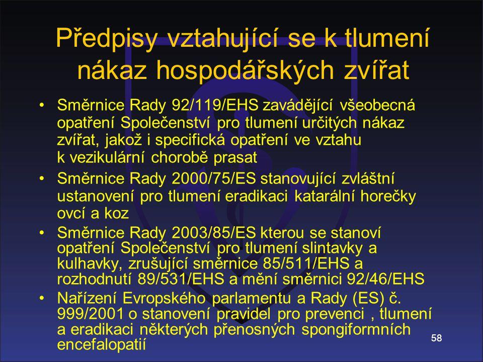 Směrnice Rady 92/119/EHS zavádějící všeobecná opatření Společenství pro tlumení určitých nákaz zvířat, jakož i specifická opatření ve vztahu k vezikulární chorobě prasat Směrnice Rady 2000/75/ES stanovující zvláštní ustanovení pro tlumení eradikaci katarální horečky ovcí a koz Směrnice Rady 2003/85/ES kterou se stanoví opatření Společenství pro tlumení slintavky a kulhavky, zrušující směrnice 85/511/EHS a rozhodnutí 89/531/EHS a mění směrnici 92/46/EHS Nařízení Evropského parlamentu a Rady (ES) č.