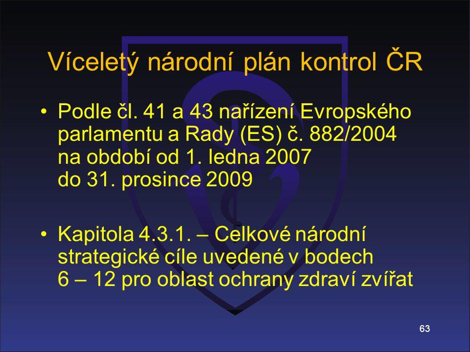 63 Víceletý národní plán kontrol ČR Podle čl.41 a 43 nařízení Evropského parlamentu a Rady (ES) č.