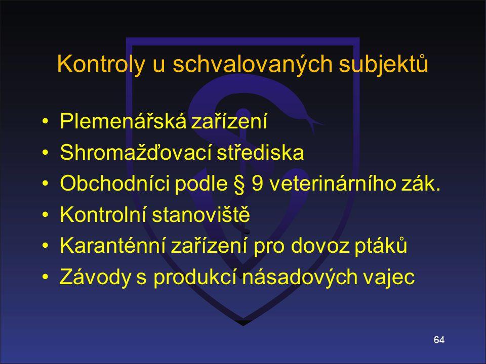 64 Kontroly u schvalovaných subjektů Plemenářská zařízení Shromažďovací střediska Obchodníci podle § 9 veterinárního zák.