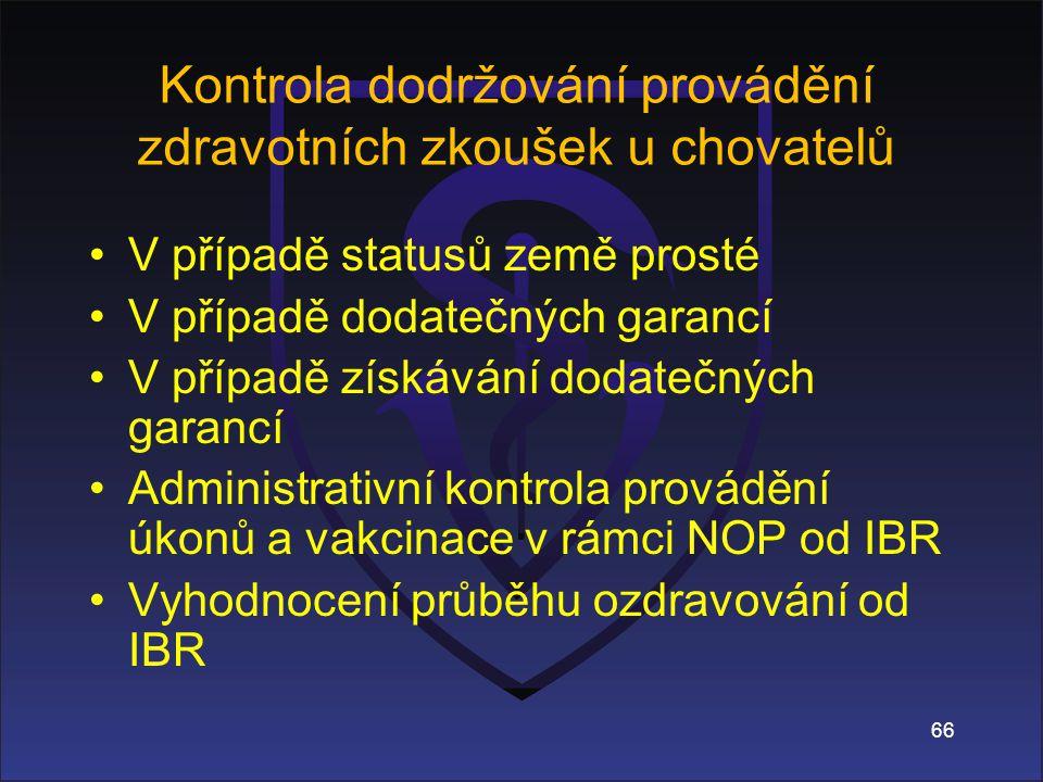 66 Kontrola dodržování provádění zdravotních zkoušek u chovatelů V případě statusů země prosté V případě dodatečných garancí V případě získávání dodatečných garancí Administrativní kontrola provádění úkonů a vakcinace v rámci NOP od IBR Vyhodnocení průběhu ozdravování od IBR
