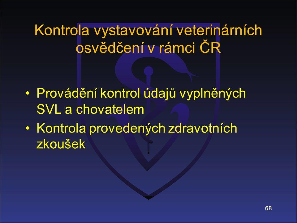68 Kontrola vystavování veterinárních osvědčení v rámci ČR Provádění kontrol údajů vyplněných SVL a chovatelem Kontrola provedených zdravotních zkoušek