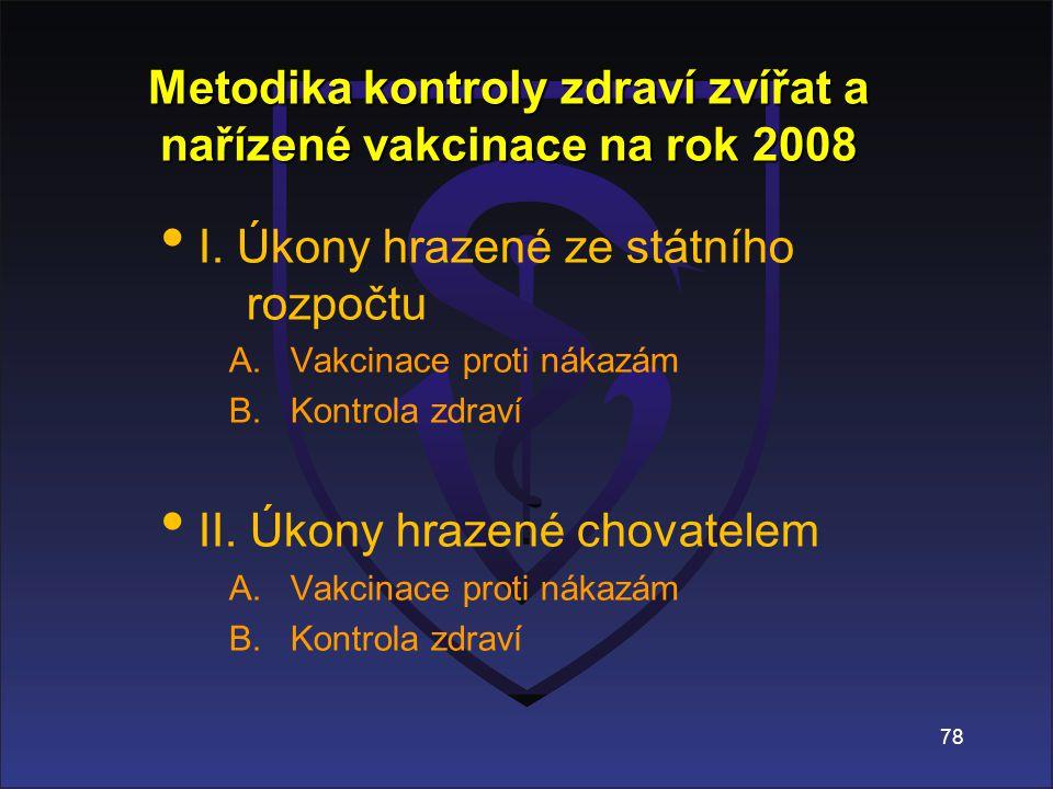 78 Metodika kontroly zdraví zvířat a nařízené vakcinace na rok 2008 I.