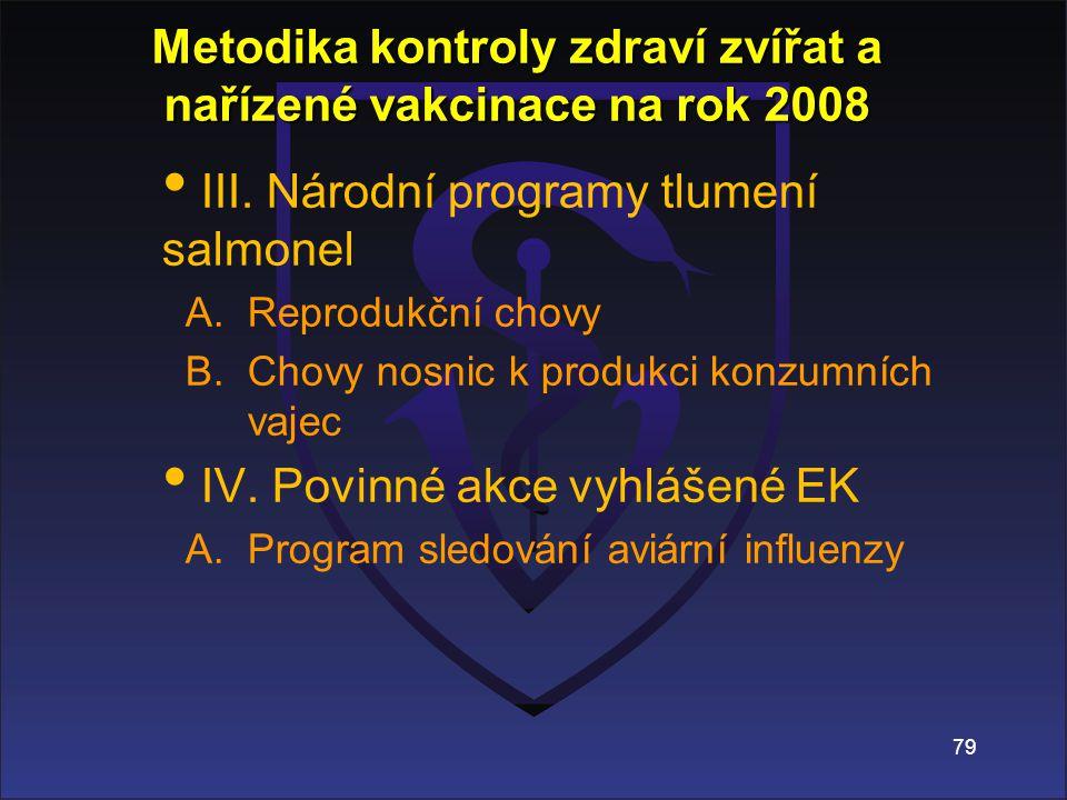 79 Metodika kontroly zdraví zvířat a nařízené vakcinace na rok 2008 III.