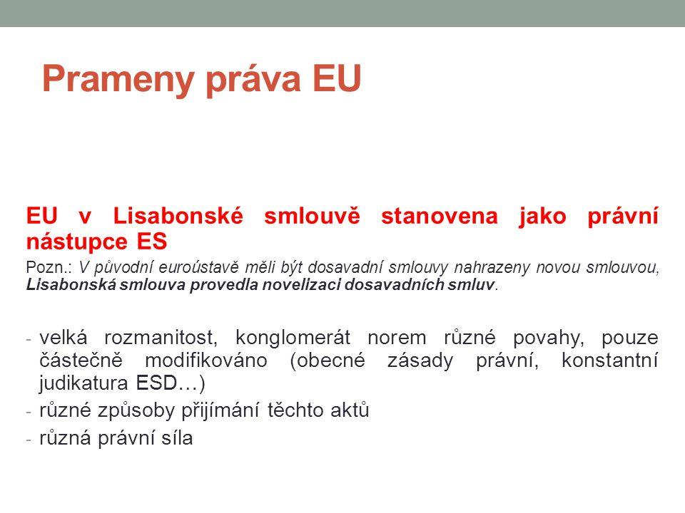 Prameny práva EU EU v Lisabonské smlouvě stanovena jako právní nástupce ES Pozn.: V původní euroústavě měli být dosavadní smlouvy nahrazeny novou smlo