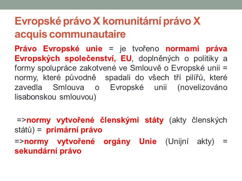Evropské právo X komunitární právo X acquis communautaire Právo Evropské unie = je tvořeno normami práva Evropských společenství, EU, doplněných o pol