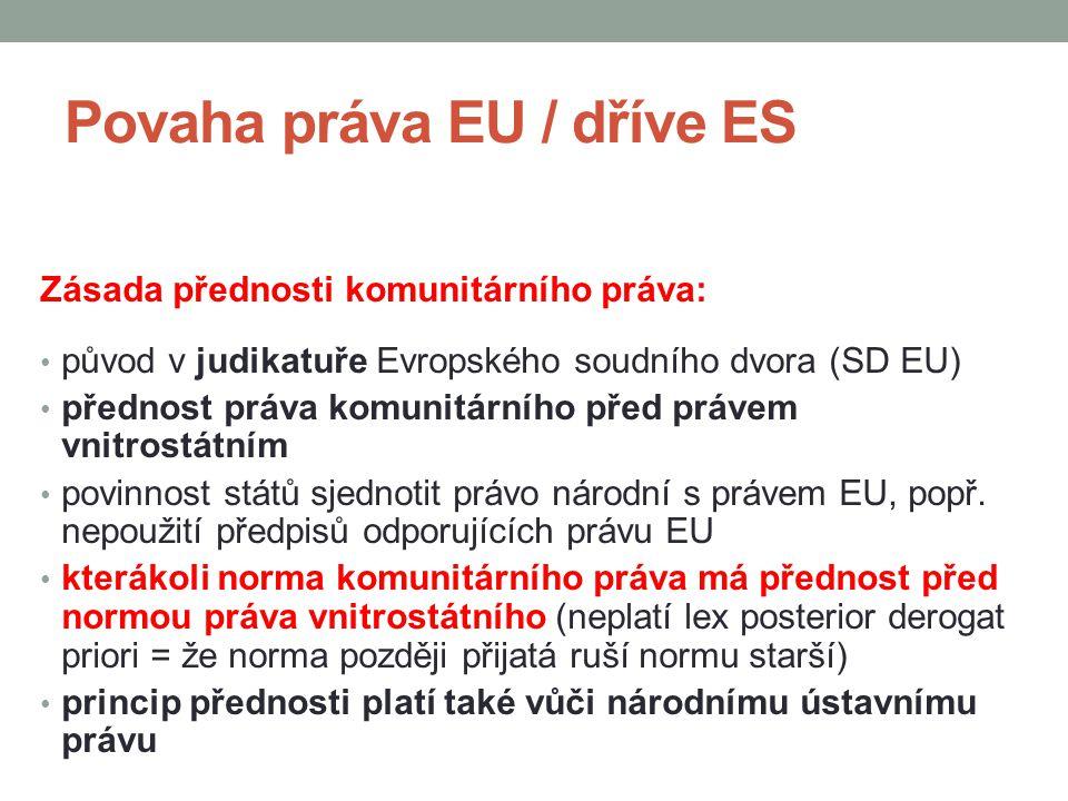 Povaha práva EU / dříve ES Zásada přednosti komunitárního práva: původ v judikatuře Evropského soudního dvora (SD EU) přednost práva komunitárního pře