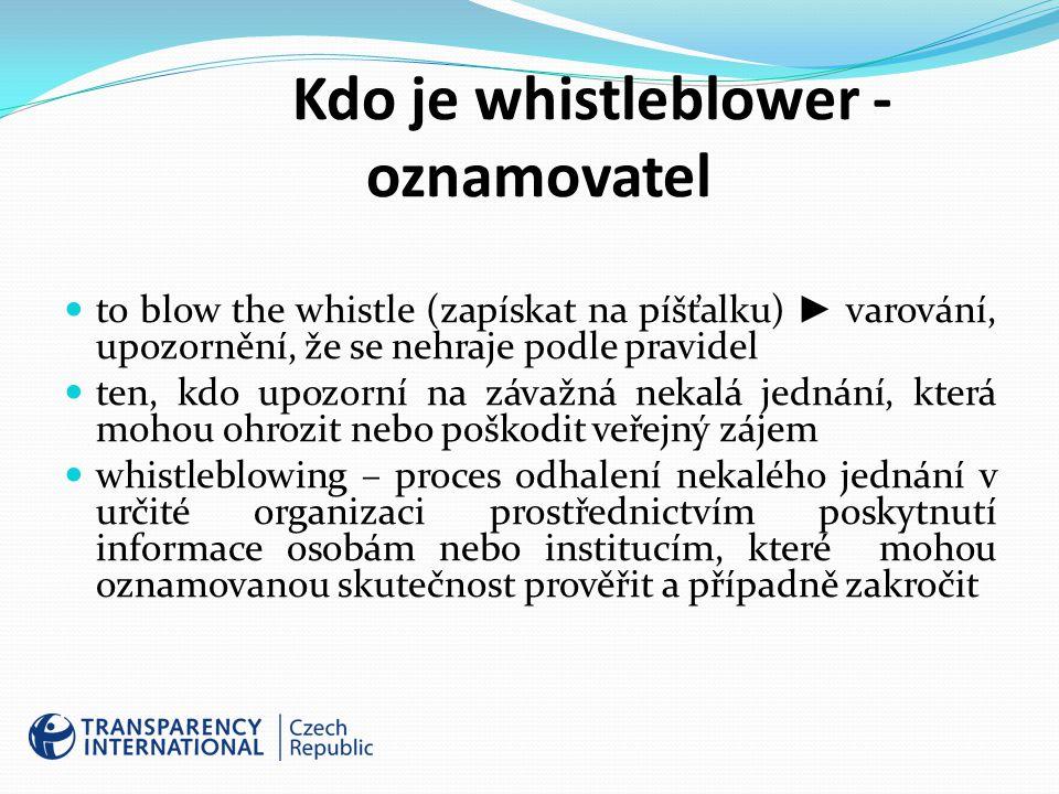Kdo je whistleblower - oznamovatel to blow the whistle (zapískat na píšťalku) ► varování, upozornění, že se nehraje podle pravidel ten, kdo upozorní na závažná nekalá jednání, která mohou ohrozit nebo poškodit veřejný zájem whistleblowing – proces odhalení nekalého jednání v určité organizaci prostřednictvím poskytnutí informace osobám nebo institucím, které mohou oznamovanou skutečnost prověřit a případně zakročit
