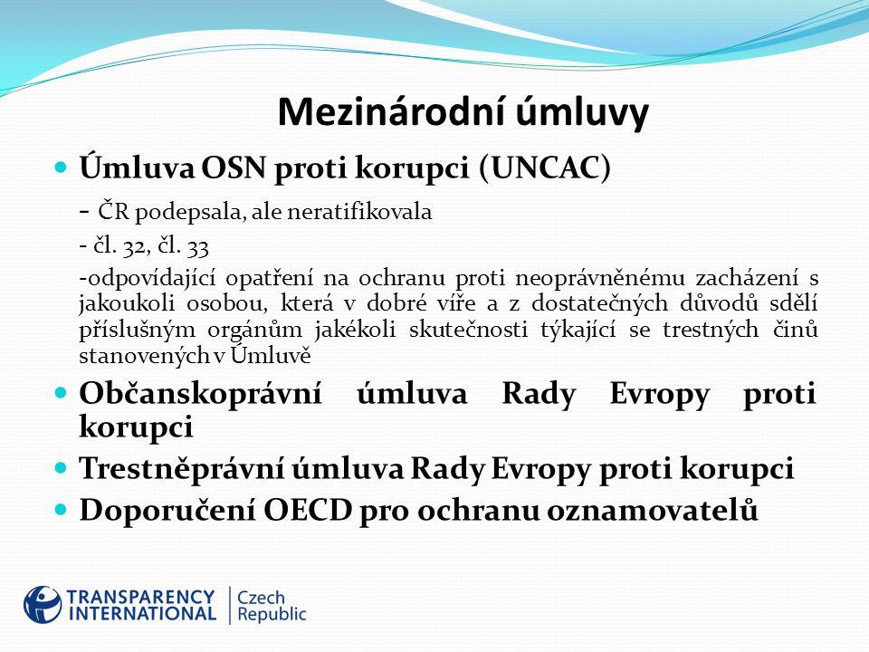 Mezinárodní úmluvy Úmluva OSN proti korupci (UNCAC) - ČR podepsala, ale neratifikovala - čl.