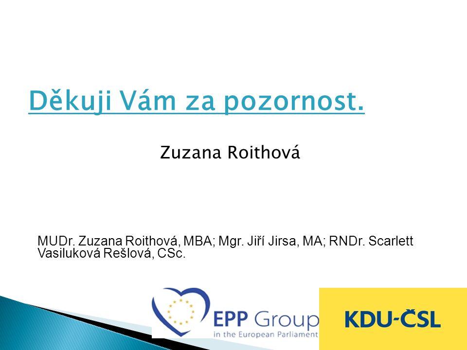 Děkuji Vám za pozornost.Zuzana Roithová MUDr. Zuzana Roithová, MBA; Mgr.