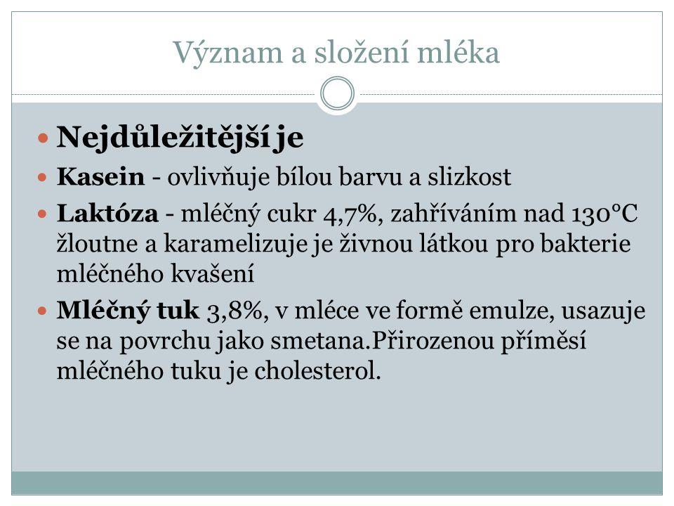 Význam a složení mléka Nejdůležitější je Kasein - ovlivňuje bílou barvu a slizkost Laktóza - mléčný cukr 4,7%, zahříváním nad 130°C žloutne a karameli