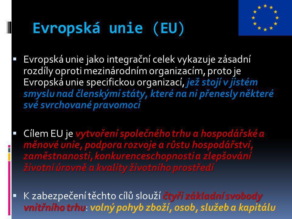 Evropská unie (EU) 1951 Pařížskou smlouvu  Snaha o prevenci hrůz druhé světové války, ale také jako prostředek dohledu nad dalším případným německým zbrojením, uzavřelo šest západoevropských států v dubnu 1951 Pařížskou smlouvu, která založila  Evropské společenství uhlí a oceli (ESUO) strategické suroviny té doby  Právě uhlí a ocel byly považovány za hlavní strategické suroviny té doby vzniklo Evropské hospodářské společenství (EHS) Evropské společenství pro atomovou energii (Euratom)  březnu 1957 pak tyto státy uzavřely další – tzv.